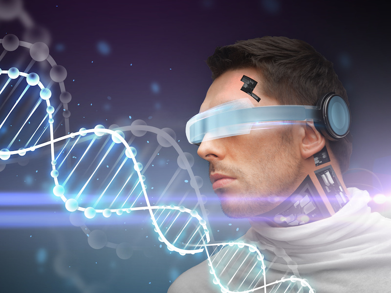 man with 3d glasses, sensors and dna molecule