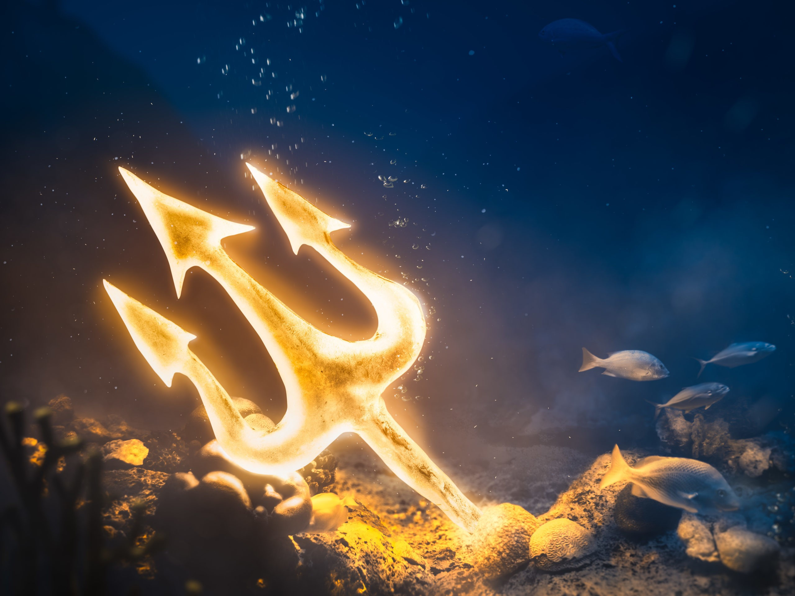 poseidon trident at the bottom of the sea