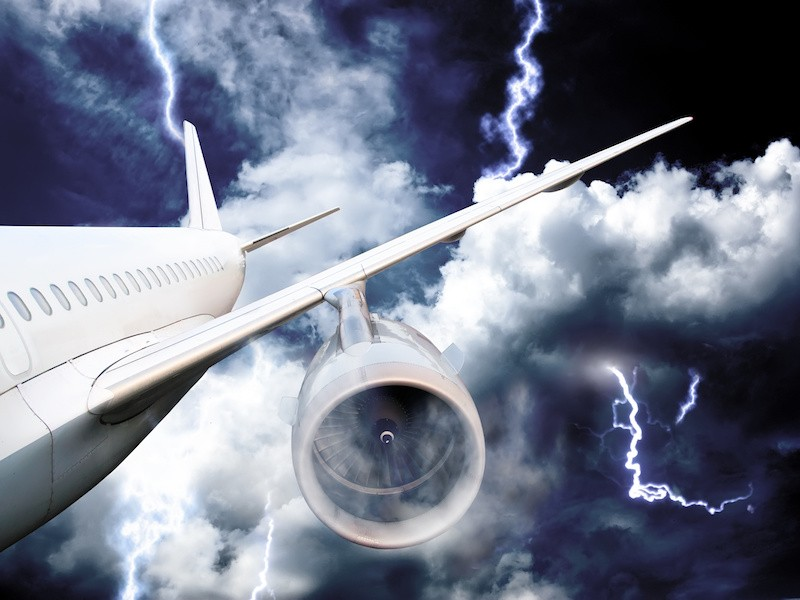 airplane crash in a storm with lightning